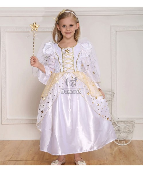 White Children's Halloween Party Costume Platinum Angel Princess Dress