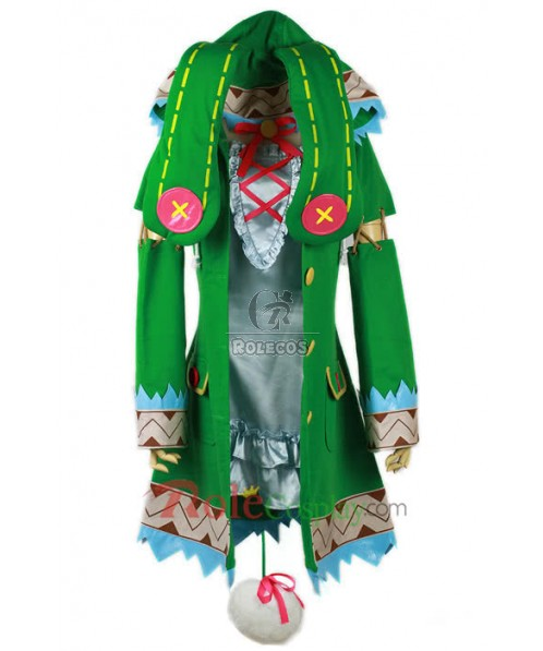 Date a Live of Hermit Cosplay Costume Green Coat