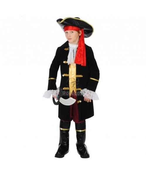 Black Children's Halloween Party Costume Pirate Captain Uniform with Hat