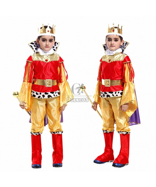 Handsome Golden Children's Halloween Party Costume Little Prince Suit with Hat