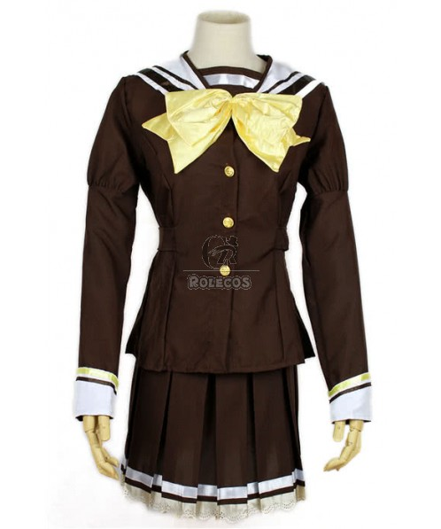 Brown  Japanese School Girl Costume with Yellow Bowknot  Tie