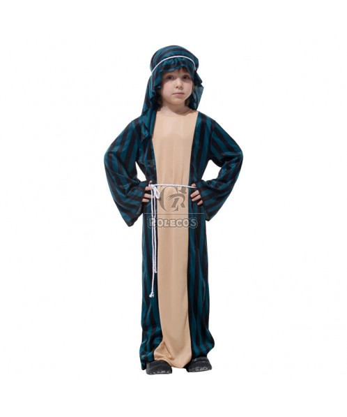 Blue Stripe Children's Halloween Party Costume the Small Arab Warriors Clothing