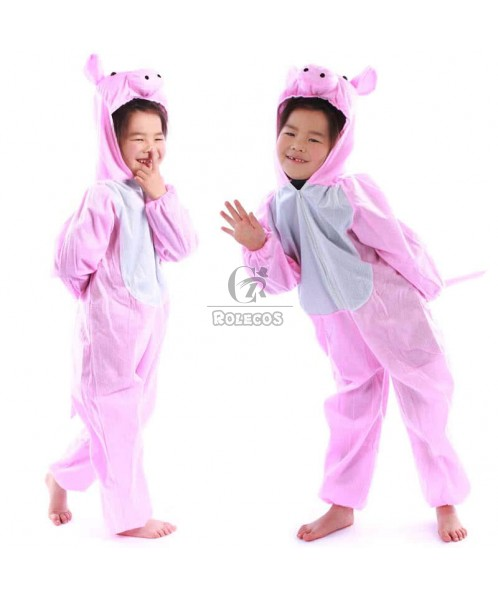 Lovely Pink Children's Halloween Party Costume Animal Cartoon Pig Suit