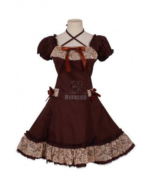 Elegant Gothic lolita Dress Civil War Cotton Ball Gown cute bow Short sleeve Lace