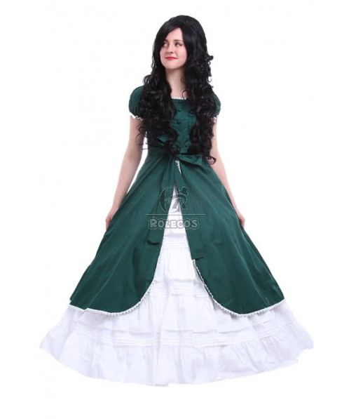 Gothic Lolita Victoria Army Green Color Party Dress Cosplay