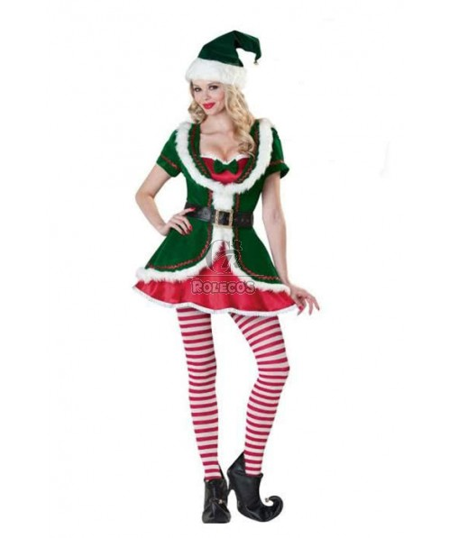 Green Christmas costume red dress 5 parts a suit hat and socks