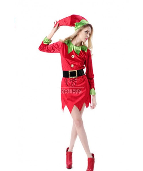 Christmas Elf Cosplay Costumes For Adults Red and Green Fancy Dresses Party Costumes