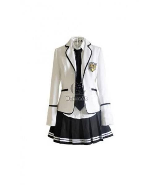 Black And White Spring Short Dress Uniform Dress Cosplay Costumes
