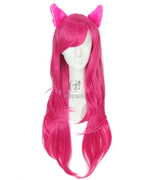 80cm Long Fashion Wig Magenta Straight Women Hair