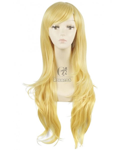 80cm Long Fashion Wig Blonde Straight Women Hair