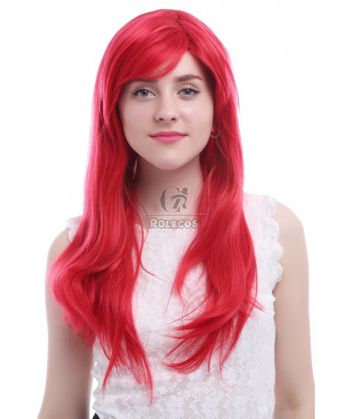 Women 65cm Long Hot Red Anime Synthetic Hair Straight Cosplay Wigs CW143B