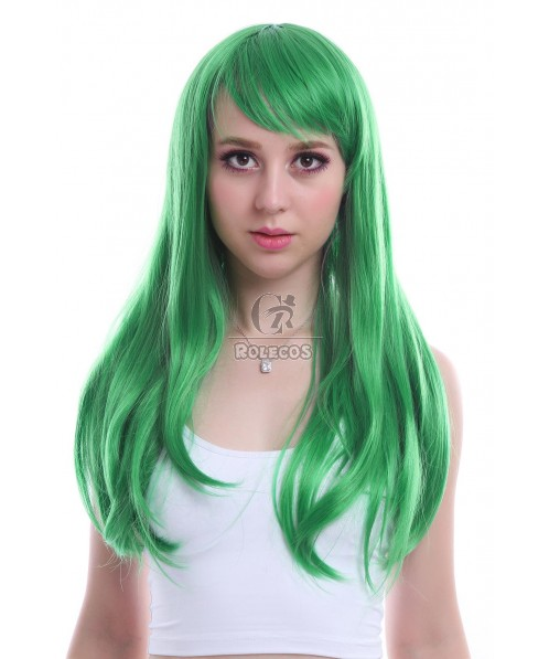 Women 65cm Long Green Anime Synthetic Hair Straight Cosplay Wigs CW143D