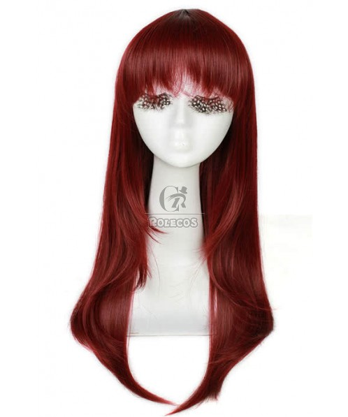 60cm long Wine Red Anime straight Cosplay wig