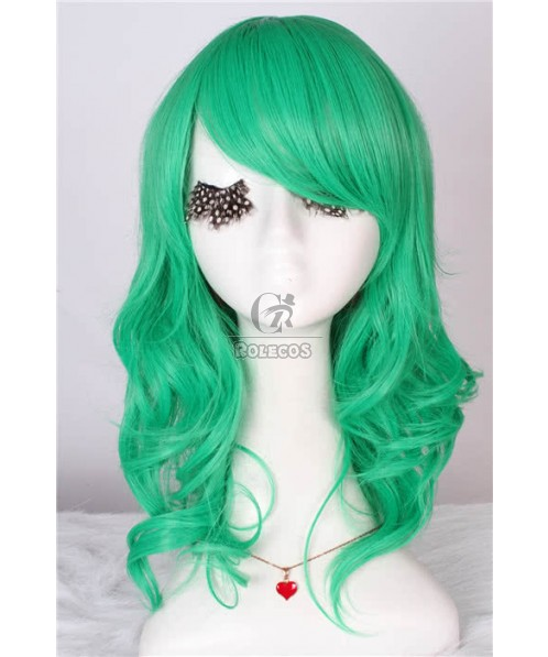 50cm Medium Long Fashion Wig Turquoise Sexy Curly Wavy Women Hair