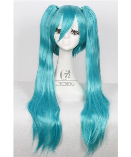 70cm long light blue straight clips on Ponytails Cosplay party hair wig