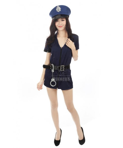 Blue Police Uniforms Policewoman Sexy Dress Party Costume