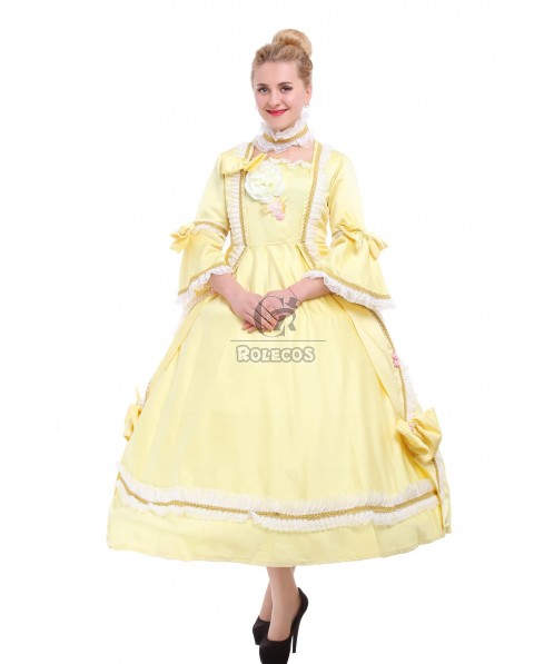 Victorian Dress Cosplay Costume Court Dress Yellow