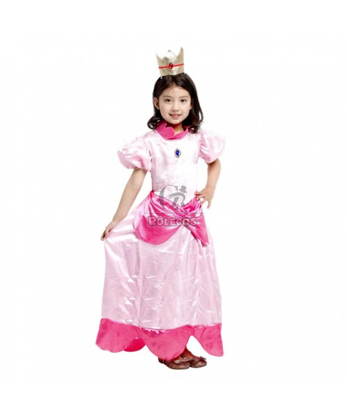 Pink Bow Children's Halloween Party Costume Princess Peach Dress