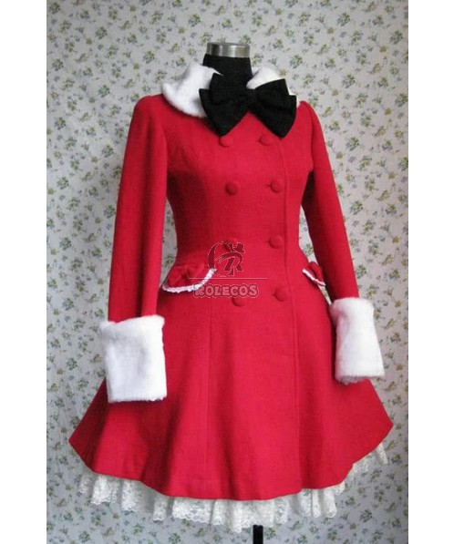 Lovely Princess red Sweet lolita cute Collect waist tweed coat