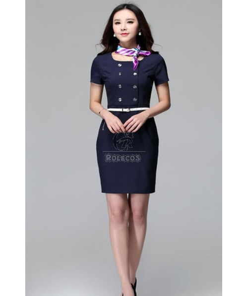 Double-Breasted Flight Attendant Costumes Cosplay Uniforms