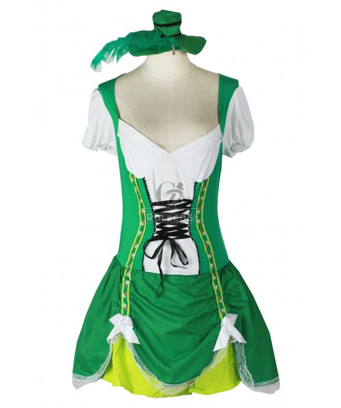 Cute Franch Beer Maid Costume Green Attractive Dress in Party