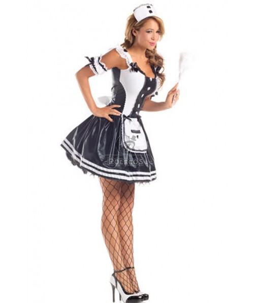 Mixed White and Black Sexy French Maid Cosplay Costumes