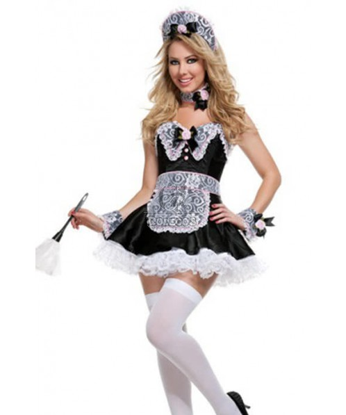 Mixed White and Black Fantasy French Maid Costumes for Adult Cosplay Party Wear