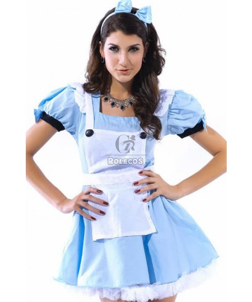 Sexy French Maid Short Sleeve Blue Dress Cosplay Costumes