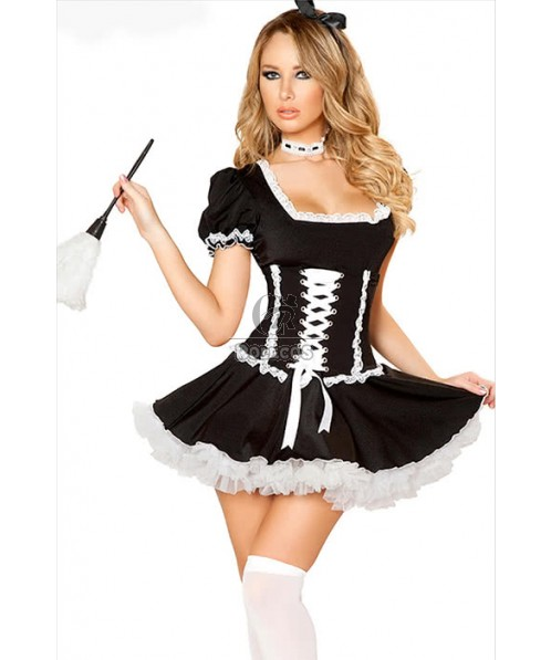 Sexy French Maid Short Sleeve Black Drees Cosplay Costumes