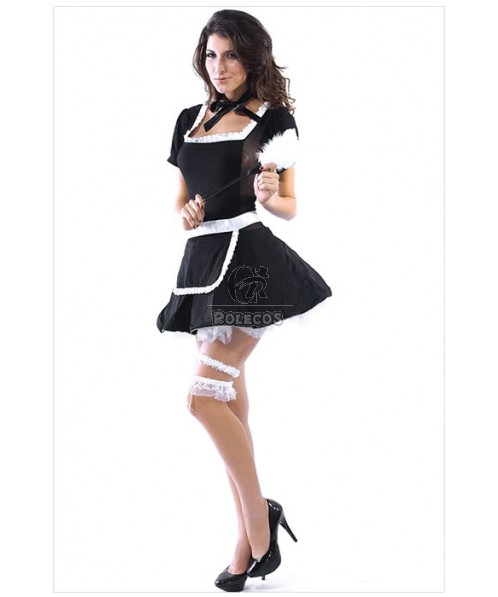 Hot Sexy French Maid Short Sleeve Black Dress Cosplay Costumes