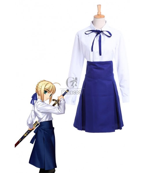 Fate Stay Night Casual Saber Uniform Dress Cosplay Costume New Fancy Dress