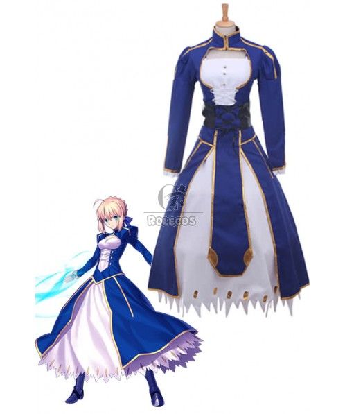 Fate Stay Saber Night Rin Deep Blue Dress Cosplay Costume
