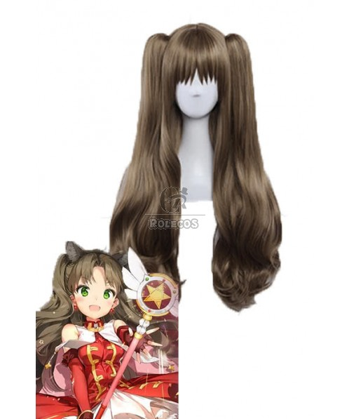 Fate Grand Order Tohsaka Rin  Brown Long Curly Game Cosplay Wigs