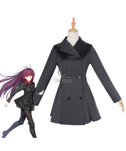 Fate Grand Order Scathach Women Black Trench Suits Game Cosplay