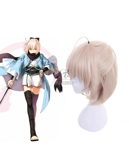 Fate/Grand Order Okita Souji Saber Blonde Medium Length Cosplay Wigs