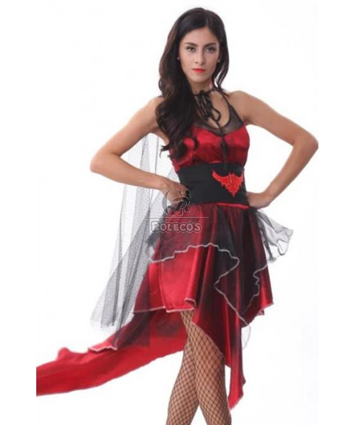 Vampire Twilight Gothic Black Red Dress Up Halloween Sexy Adult Costume
