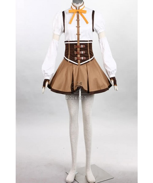Puella Magi Tomoe Mami Mixed White And Brown Dress Lovely Cosplay Costume