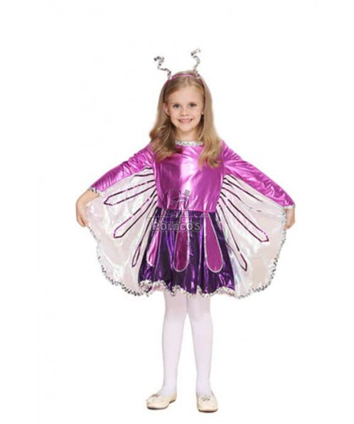 Children Butterfly Purple Christmas Cosplay Costume