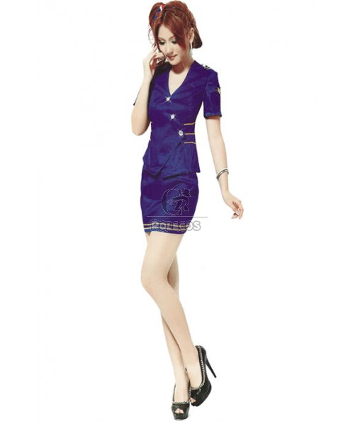 Women Sexy Skirt Stewardess Style Uniform Flight Attendants Costume