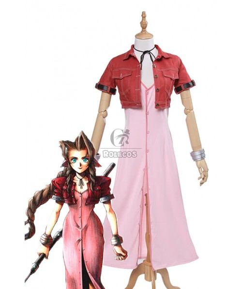 Final Fantasy VII 7 Aerith Pink Anime Cosplay Costumes