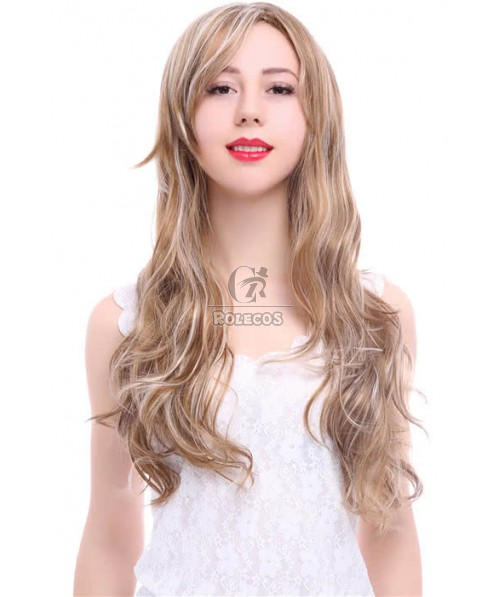 50cm Long   Fashion Wig Blonde Mixed Brown Curly Woman Hair