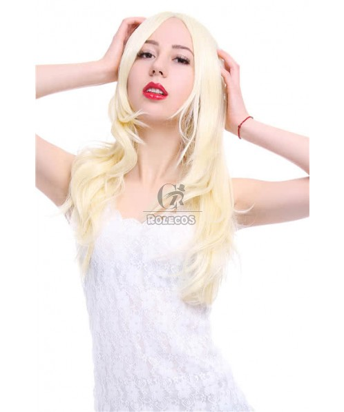 60cm Long Fashion Wig Blonde Wavy  Women  Synthetic Hair