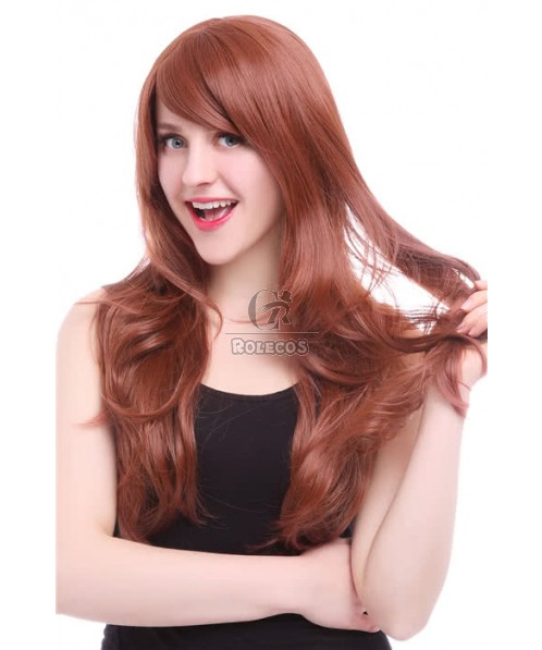 70cm Long Fashion Wig  Caramel Color Body Wavy Women Hair