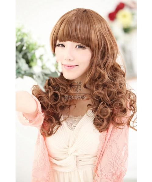 55cm Mid Fashion Wig Brown Neat Bang Women Wave Hair