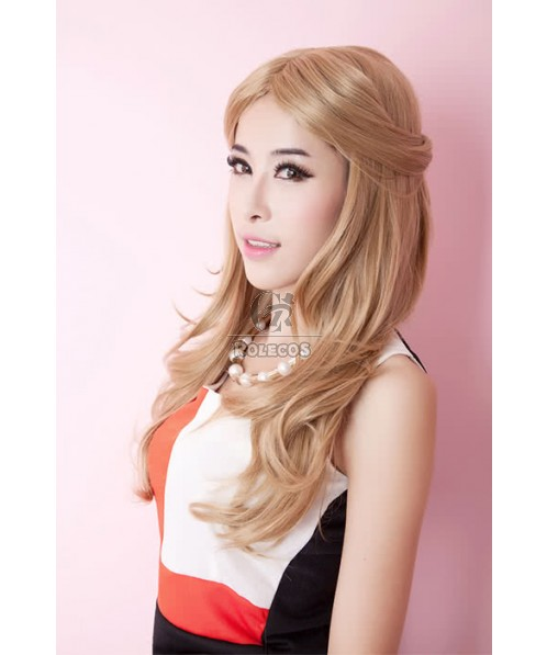 60cm Long Fashion  Wig  Layered Flaxen Curly Woman Party Hair