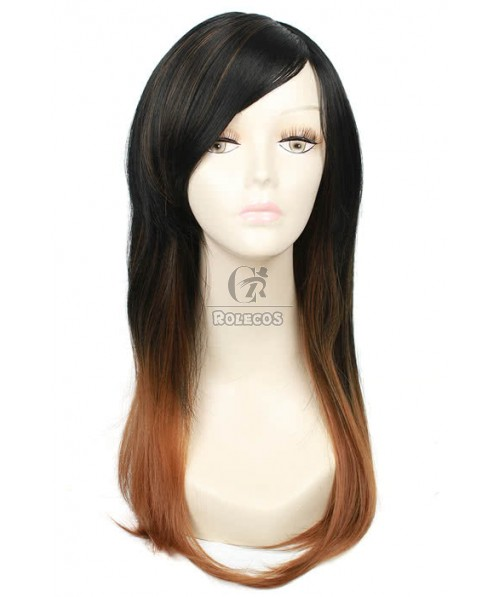 55CM Long Fashion Wig of Mixed Black and Brown Straight Hair