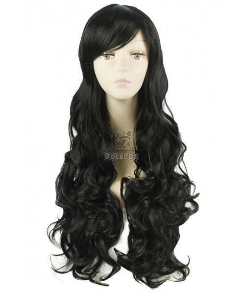80CM Long Black Synthetic Heat Resistent Hair Wave Wig