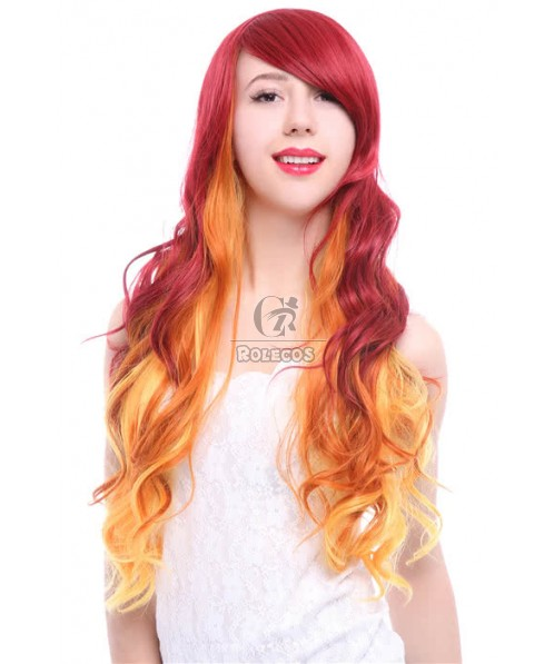 70cm Wave Red Fade Golden Long Fashion Hair Cosplay Wigs