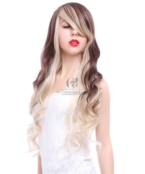 70CM Long Wave Brown Fade Blonde Fashion Hair Wig
