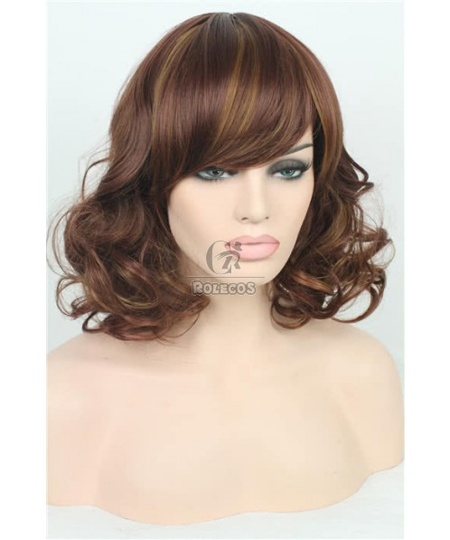 35cm Short Fashion Wig Wine Red Mix Light Brown Curly Women Hair